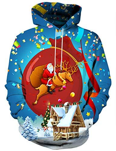 Yasswete Unisex Blue Reindeer Xmas Santa Sweatshirts Outfit S ()