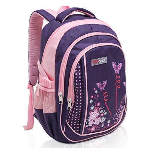 (MGgear 18 Inch Butterfly Student School Book Bag/Children's Backpack - Purple)