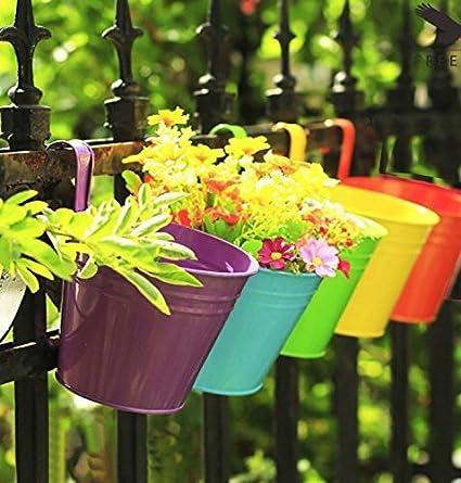 Collectible India Metal Blue Hanging Flower Pots Railing Bucket Vase