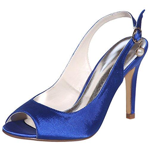 Loslandifen Donna Peep Toe Cinturino Alla Caviglia Pompe Fibbia Stiletto Tacchi Alti Scarpe Da Sposa Blu