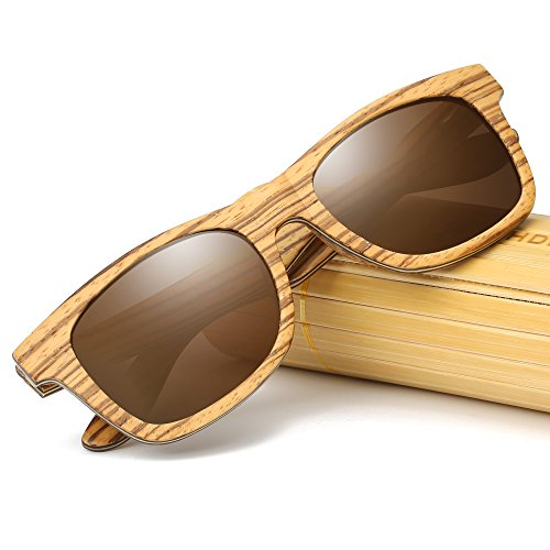 KITHDIA Sunglasses Mirror Men Women Zebra Wooden Bamboo Sunglasses With - Sunglasses Case Wooden