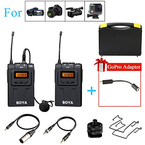 BOYA BY-UM48C UHF 48-Channel Wireless Lavalier Microphone System for Canon Nikon DSLR Camera Sony Camcorder GoPro Hero 4 3 3+ YouTube Vlogging Podcase Street Interview Studio Video (Reference Microphones Wireless Digital)