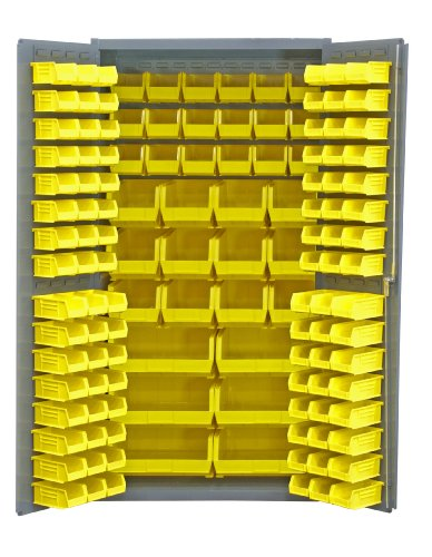 Durham 14 Gauge Welded Steel Heavy Duty Flush Door Style Storage Cabinet with 132 Bins, 3501-BDLP-132-95,  24