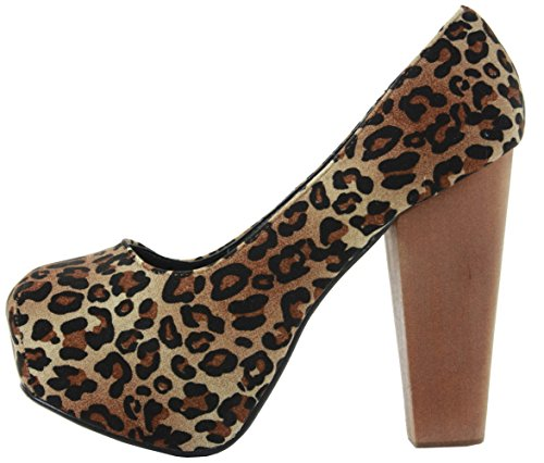 PARTY NEW HIGH COURT SIZE Leopard WOMENS LADIES Style PROM SHOES PUMPS HEEL PLATFORM STILETTO 7 MID WEDDING WrrIO1qP8