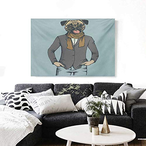 Pug Canvas Print Wall Art Abstract Image of a Dog with Human Proportions with Jacket Scarf and Jeans Absurd Artwork for Wall Decor 20