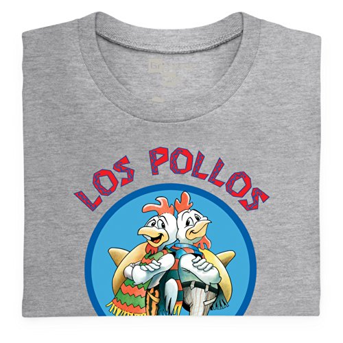 Official Breaking Bad - Los Pollos Hermanos Organic T Shirt, Herren, Melange Grey, M