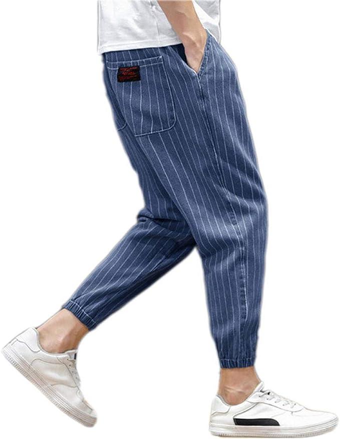 Smileメンズジーンズ ストライプ ワイドデニムパンツ ゆったり 大きサイズ 無地 袴パンツ