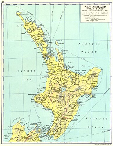 Map Of New Zealand North Island.Amazon Com New Zealand New Zealand North Island 1962 Old Map
