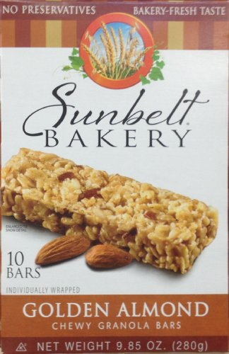 Sunbelt Bakery's GOLDEN ALMOND Chewy Granola Bars 10 Count (8 (Golden Wheat Bakery)