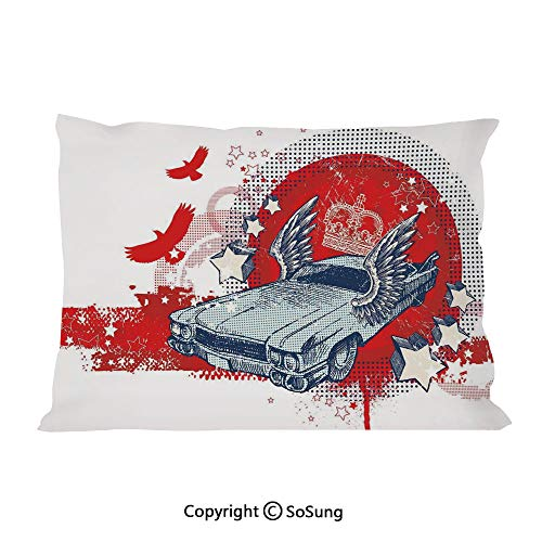 SoSung Retro Bed Pillow Case/Shams Set of 2,Abstract Illustration Hand Drawn Winged Crowned Vintage Style Car Birds and Stars Queen Size Without Insert (2 Pack Pillowcase 30