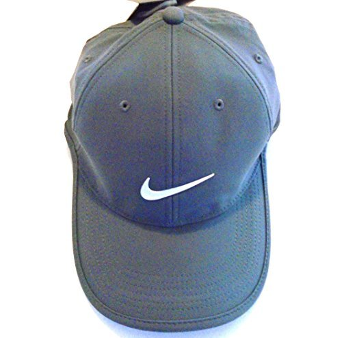 NIKE Golf Dri-Fit Adjustable Course Cap Pro Tour Hat (Carbon Heather Grey  with Signature White Swoosh Logo)