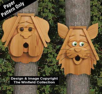 Cedar Cat and Dog Birdhouses Wood Pattern - Cedar Dog House Package