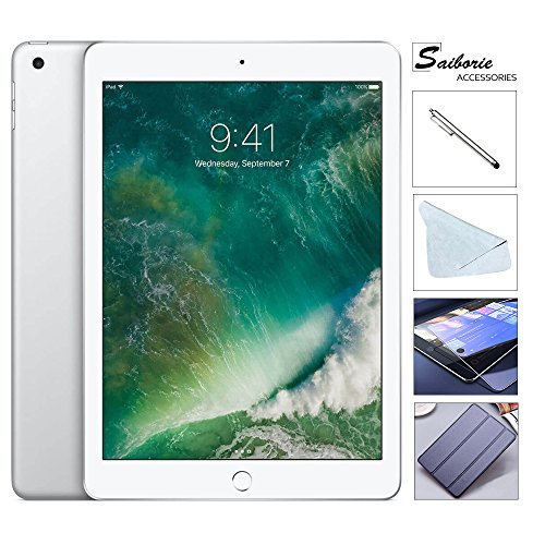 Apple iPad 9.7 Retina Display with Saiborie $49.99 Value bundle, 2017 5th Gen 32GB, M9, Wi-Fi, MIMO, Bluetooth, Apple iOS 10 (Silver) (Accessory 2 Bundle Gb)