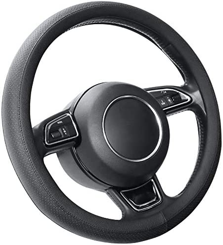 Seg Direct Schwarz Lenkradhülle Lenkrad Abdeckung Lenkradbezug Aus Mikrofaser Leder Für Prius Civic 35 5 36 Cm Auto