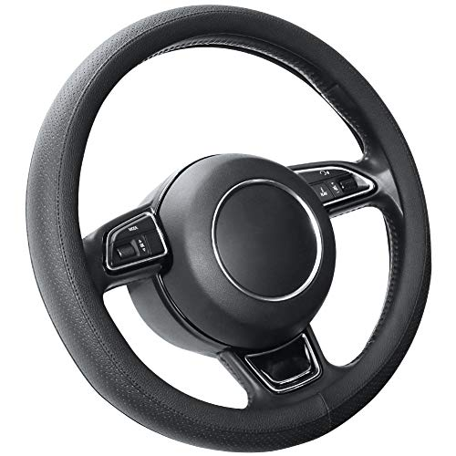 SEG Direct Microfiber Leather Black Steering Wheel Cover for Prius Civic 14