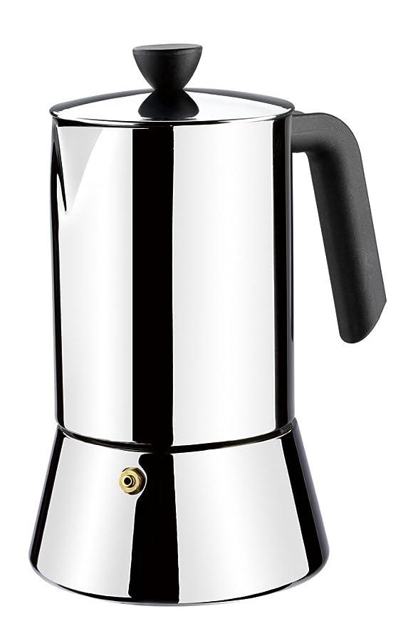 Monix Roma - Cafetera Italiana con Capacidad 6 Tazas, Fabricada en Acero Inoxidable 18/10 y Apta para Todo Tipo de cocinas, incluida inducción