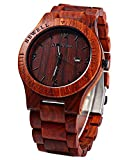 Wooden Watches Top Gift Auto Date Zebra Wooden Watches Wrist Watch for Men and Women (Red Sandalwood)