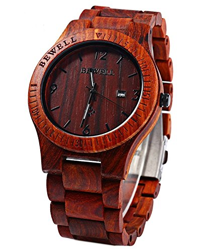 Wooden Watches Top Gift Auto Date Zebra Wooden Watches Wrist Watch for Men and Women (Red Sandalwood) (Unusual Best Man Gifts)