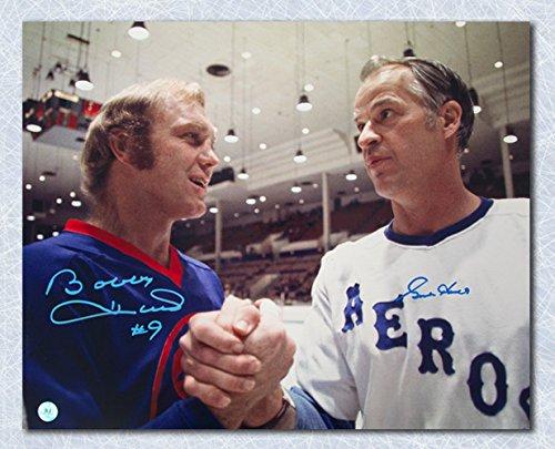 Gordie Howe & Bobby Hull Dual Signed Houston Aeros Winnipeg Jets WHA 16x20 Photo - Signed Winnipeg Jets