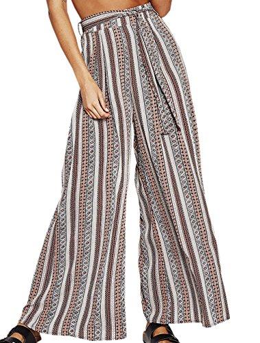 Larga da con Spiaggia Colore Sciolto a Trousers Pants Nuovo Bende Lungo Casual Donna Stampa Alta Pantaloni Gamba Moda Vita TW6qWUan