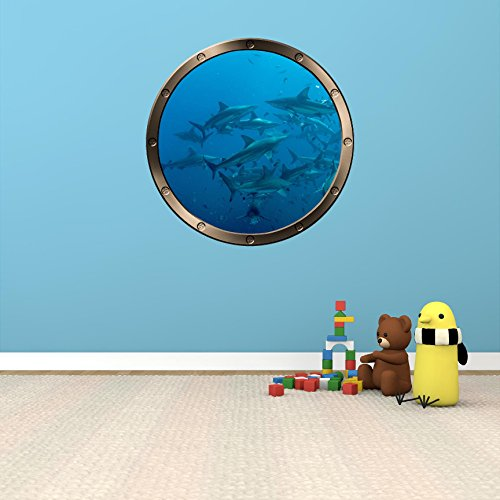 24  Porthole Ship Window Ocean Sea View Shark Frenzy  1 Pewter Round Wall Graphic Kids Decal Baby Room Sticker Home Art D Cor Medium