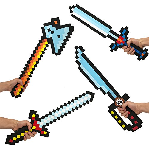Boley 8-Bit Pixel Diamond Foam Sword Set - 24'' Inch 4 Pack Weapons - Perfect Party Set Offering Hours of Pretend Play by Boley