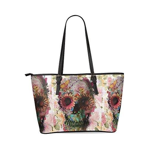 InterestPrint Custom Sugar Skull Leather Tote Bag/Handbag/Shoulder Bag for Women (Custom Totes)