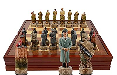 World War II Themed Chess Set. Wooden Playing Board and Storage Box