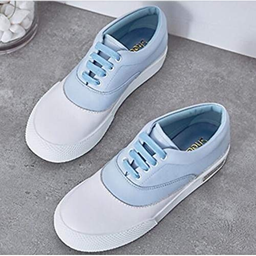Blue Claro Punta Rosa Redonda Denim Primavera y Mujer Otoño Zapatos Sneakers Azul ZHZNVX Leather Claro Gris Nappa Heel Comfort Flat de Verano Light qBAwWTC