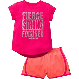 New Balance Girls' Graphic T-Shirt and Short, Alpha Pink/Sunrise, 12 Months