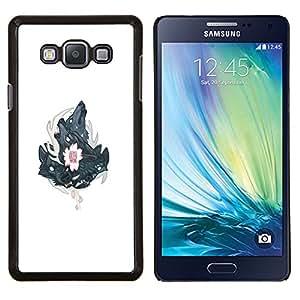 Qstar Arte & diseño plástico duro Fundas Cover Cubre Hard Case Cover para Samsung Galaxy A7 A7000 (Tres Lobos Lobo cresta)