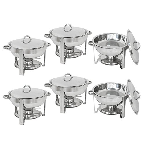 Medium Round Chafer - Deluxe Stainless Steel Chafing Dish Round Chafer with Lid 5 Quart,Dinner Serving Buffet Warmer Full Size (6)