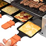 MasterChef Dual Cheese Raclette Table Grill w Non-stick Grilling Plate and Cooking Stone- Deluxe 8 Person Electric Tabletop Cooker- Melt Cheese and Grill Meat and Vegetables at Once