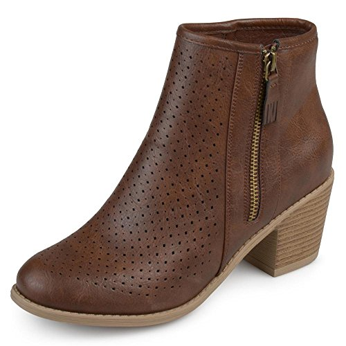 Stacked Booties Womens Heel Wood Laser Brown Co cut Brinley Faux Malak Leather Faux On0PHq