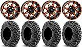 Bundle - 9 Items: STI HD6 14'' Wheels Orange/Black 32'' MotoVator Tires [4x156 Bolt Pattern 12mmx1.5 Lug Kit]