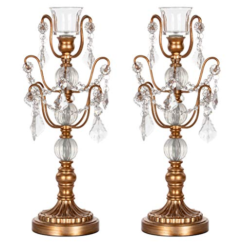 (Amalfi Decor 2-Piece Glass Metal Candelabra Set, Single 1-Light Votive Candle Taper Candlestick Holder Unity Accent Stand (Gold))