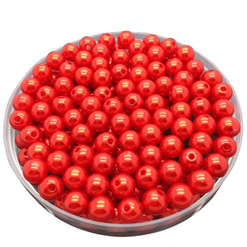 LKXHarleya 30pcs 10mm (Red) Imitation Glass Pearls Round Beads Acrylic Loose Beads for DIY Jewelry Making Necklace Bracelet Earrings ()