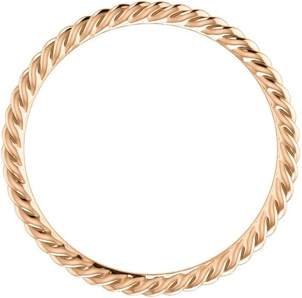 FB Jewels 10K Rose Gold Skinny Rope Wedding Ring Band Size 7.5