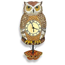 Modern Artisans Night Owl Pendulum Wall Clock