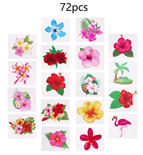 Moon Boat Luau Hibiscus Temporary Tattoos -Hawaiian/Tropical/Flamingo/Summer Pool Party Decorations Supplies Favors (72 PCS)