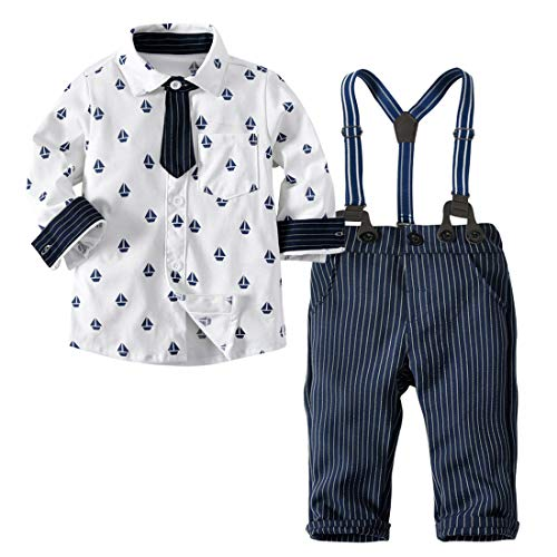 Little Boy Autumn Cotton Gentleman Long Sleeve Tie Romper+Striped Suspenders Long Outfit Set White Triangulation Anchor Striped Strap Trousers XL