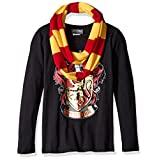 Harry Potter Big Girls' Hogwarts Long Sleeve T-Shirt with Scarf, Black, Large