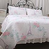 Brandream Girls Paris Comforter Sets Cotton Quilt Set Queen Size 3pcs