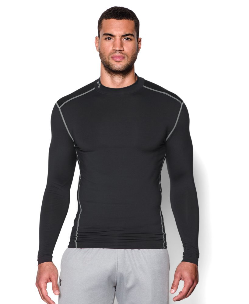 Under Armour Men's ColdGear Armour Compression Mock Long Sleeve Shirt, Black /Steel, X-Small
