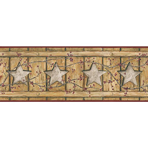 York Wallcoverings Keepsakes Country Cutout Star Removable Wallpaper, Ecru, Gold, Grey, Red, Brown ()