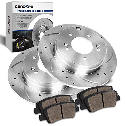 CENCORE  Rear Left & Right Non-Coated Anti-Rust Brake Disc Plate Kit Cross Drilled & Slotted 2 Brake Rotors & 4 Ceramic Brake Pads Compatible with 12/2009-2013 Hyundai Sonata 2011-2013 Kia Optima