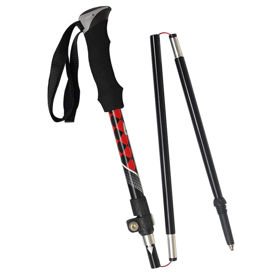 Xasclnis Outdoor Sports Lock Trekking Pole Ultraleicht Wandern Eva Griff Kohlefaser Spazierstock Teleskop Folding Stick (Farbe   rot)