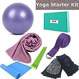 Yoga Set - Gift 6 Piece Essentials Beginners Bundle, Portable Basic Stretching Supplies, Yoga Accessories kit