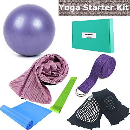 Yoga Set - Gift 6 Piece Essentials Beginners Bundle, Portable Basic Stretching Supplies, Yoga Accessories kit