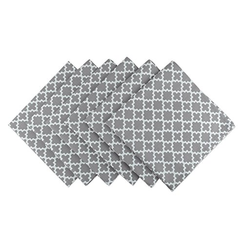 DII Lattice Cotton Napkin for Brunch, Weddings, Showers, Parties and Everyday Use - 20 x 20, Gray and White, Set of 6 by DII